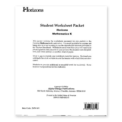 Grade K Student Worksheet Packet