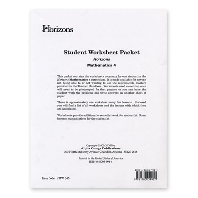 Grade 4 Worksheet Packet